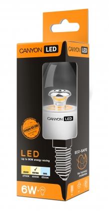 Лампа светодиодная CANYON B38 свеча E14 6W 220-240V 150° 494 lm 4000K Ra>80 прозрачная колба